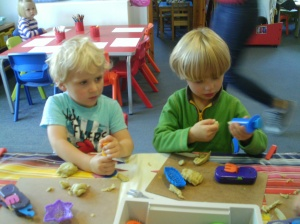 Sam and Charlie getting creative with the playdough