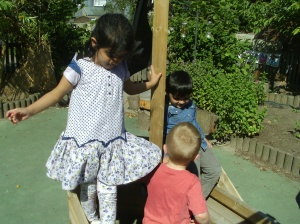 Aroush,Angus and Moiz climbing the pirate ship